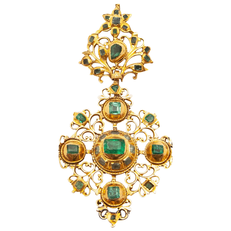 18th Century Iberian Estate Gold Emerald Cross Pendant