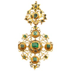 18th Century Iberian Estate Gold Emerald Cross Pendant