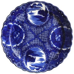 18th Century Imari Blue and White Round Scalloped Japanese Oversized Platter