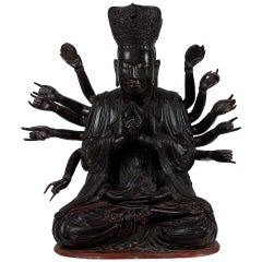 18th Century important Large Wooden 14 Armed Seated Buddha, Quan'am, Vietnam