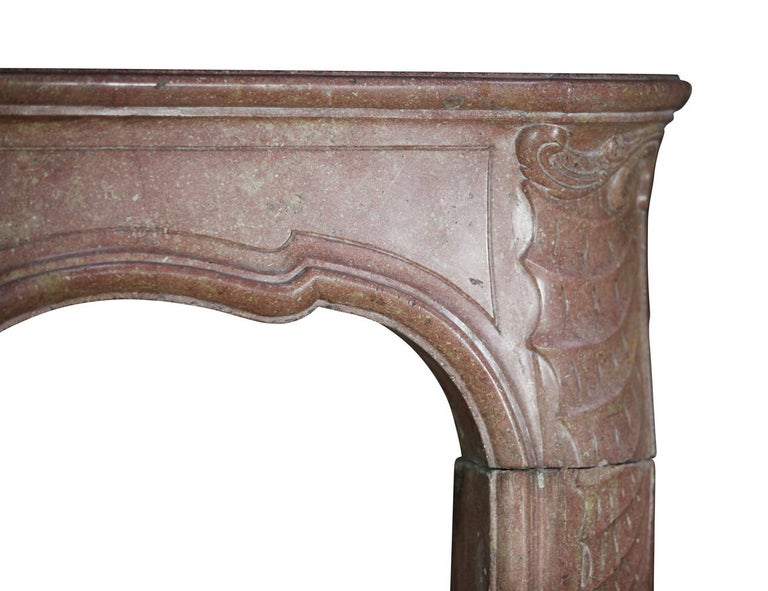 Carved 18th Century Impressive French Stone Antique Fireplace Surround For Sale