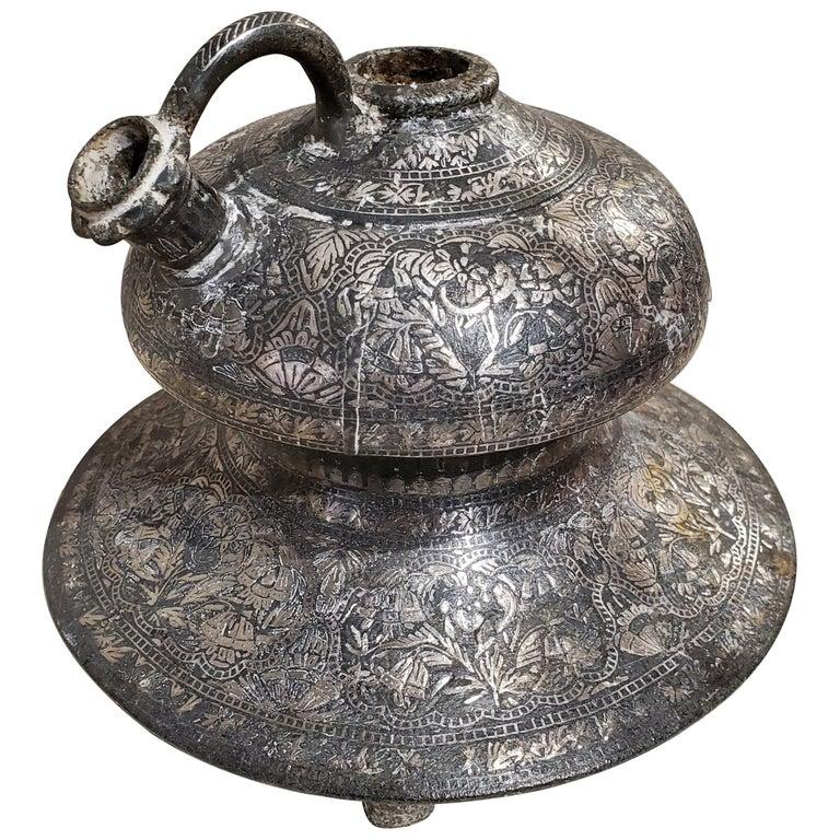 """18th Century Indian """"Bidriware"""" Metal Hookah Base For Sale"""
