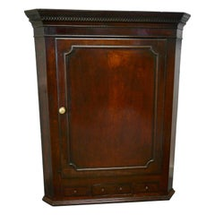 18th Century Inlaid Country Oak Corner Cupboard