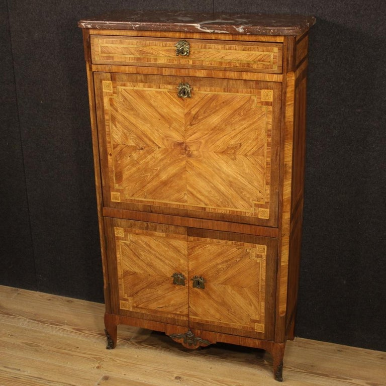18th Century Inlaid Wood French Antique Louis XVI Secrétaire, 1780 In Fair Condition For Sale In Vicoforte, Piedmont