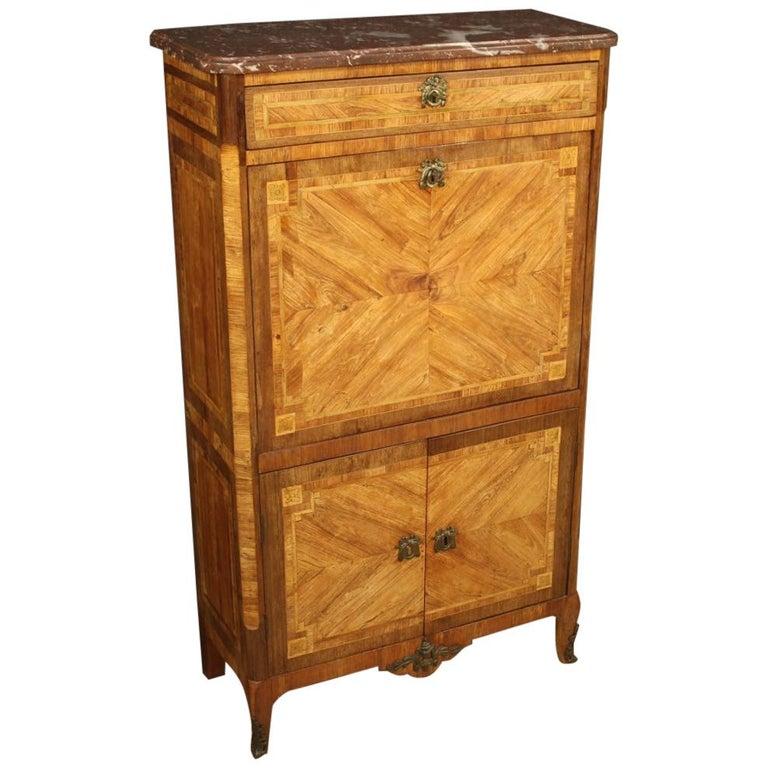 18th Century Inlaid Wood French Antique Louis XVI Secrétaire, 1780 For Sale