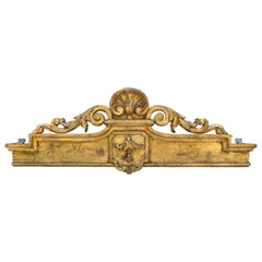 18th Century Irish Georgian Gold Leaf Curtain Pelmet/Canopy Bed Corona