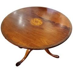 18th Century Irish Mahogany and Boxwood Tilt-Top Tripod Tea Table