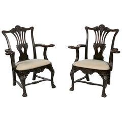 18th Century Irish Pair of Butler Carver Chairs