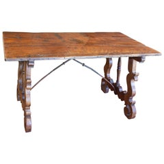 18th Century Iron and Walnut Catalan Writing and Dining Table Found in Spain