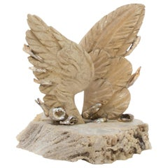18th Century Italian Angel Wings with Baroque Pearls on Fossil Agate Coral