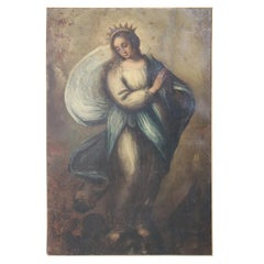 18th Century Italian Artist The Virgin Mary Oil Painting on Canvas