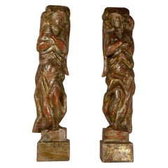 18th Century Italian Baroque Carved and Polychrome Flanking Angels