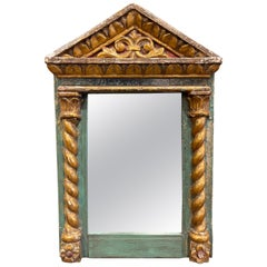 18th Century Italian Baroque Carved Giltwood and Polychrome Wall Mirror