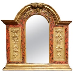 18th Century Italian Baroque Carved Polychrome and Giltwood Wall Mirror