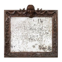 18th Century Italian Baroque Carved Wood Framed Mirror