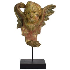 18th Century Italian Baroque Carved Wooden Angel Head on a Wing