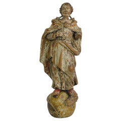 18th Century Italian Baroque Carved Wooden Madonna