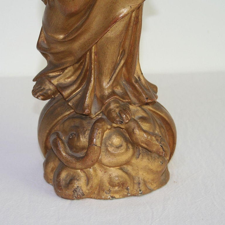 18th Century Italian Baroque Carved Wooden Madonna with Child For Sale 10