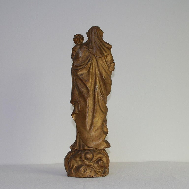 18th Century and Earlier 18th Century Italian Baroque Carved Wooden Madonna with Child For Sale