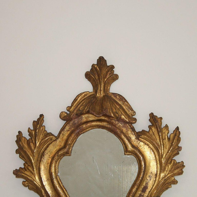 Hand-Carved 18th Century Italian Baroque Giltwood Mirror For Sale