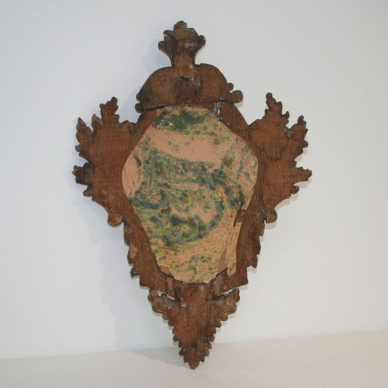 Wood 18th Century Italian Baroque Giltwood Mirror For Sale