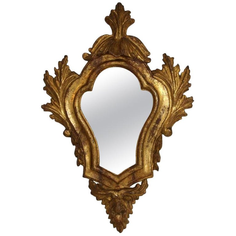 18th Century Italian Baroque Giltwood Mirror For Sale