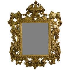 18th Century, Italian Baroque Giltwood Mirror
