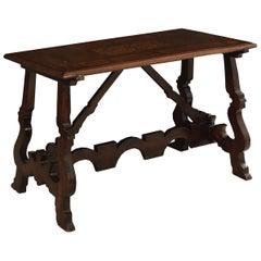 18th Century Italian Baroque Inlaid Walnut Trestle-Base Center Table
