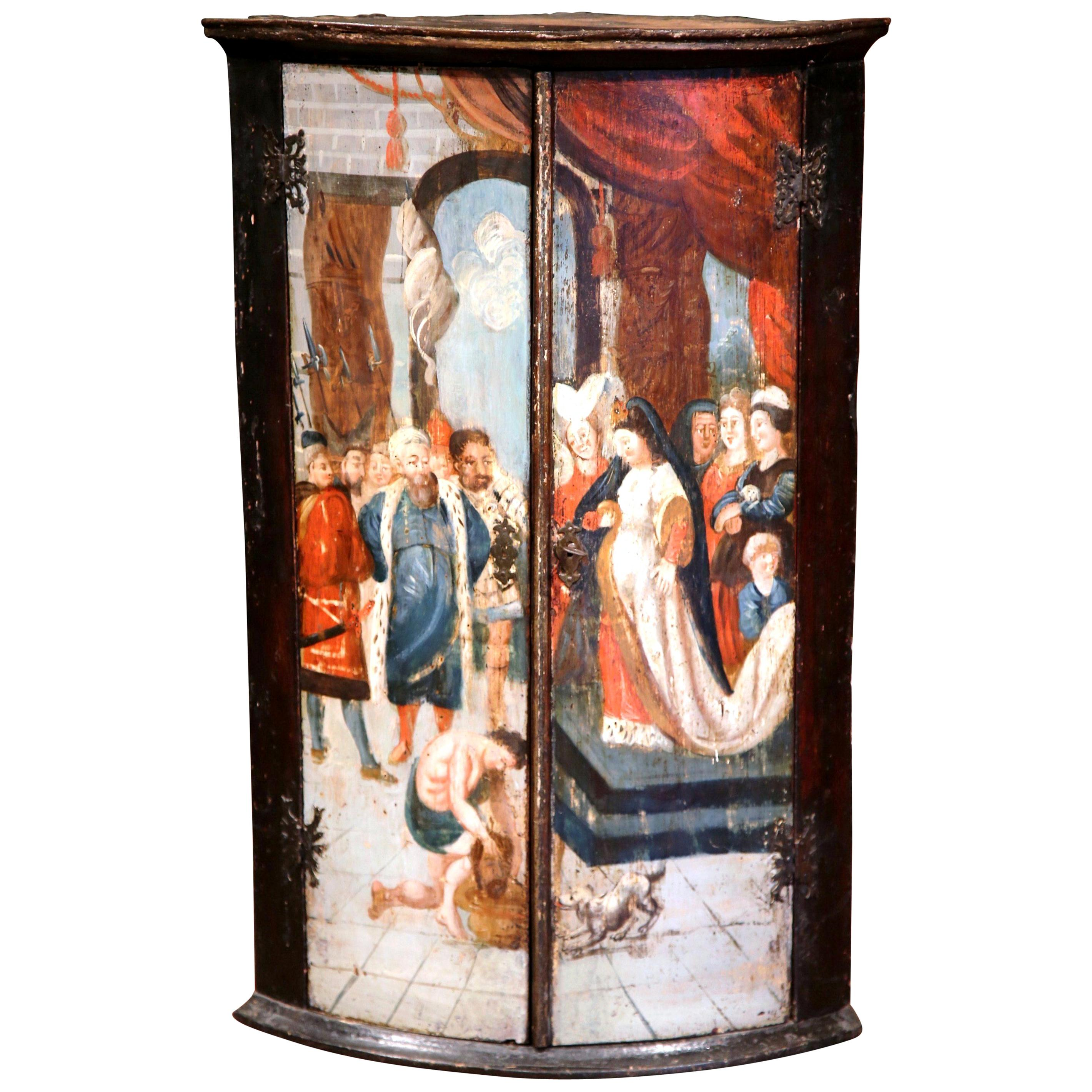 18th Century Italian Baroque Painted Bombe Two-Door Corner Cabinet