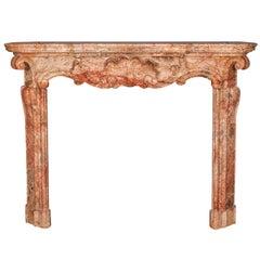 18th Century Italian Baroque Sarrancolin Marble Mantel Piece