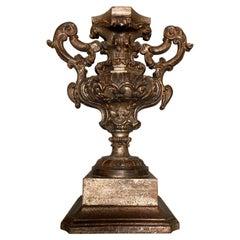 18th Century Italian Baroque Silver Gilt Carved Wood Urn