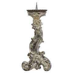 18th Century Italian Baroque Silvered Candlestick