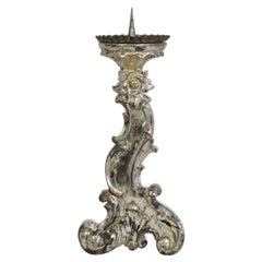 18th Century Italian Baroque Silvered Candlestick