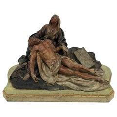 18th Century Italian Baroque Terracotta Pieta Statue Polychrome Sculpture Group
