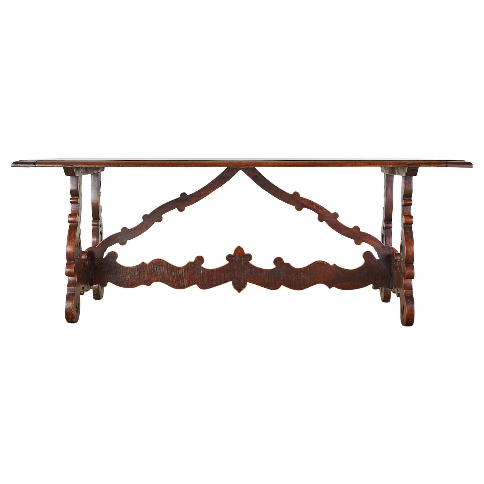 18th Century Italian Baroque Walnut Trestle Dining Table