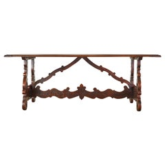 18th Century Italian Baroque Walnut Trestle Dining Table