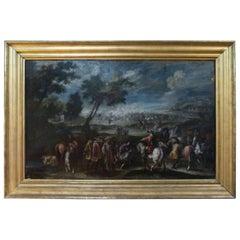 18th Century Italian Battle Painting, Oil on Canvas, Giovanni Tuccari