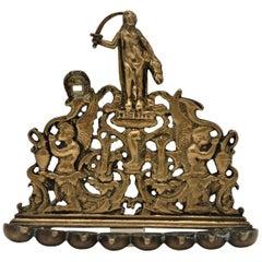 18th Century Italian Brass Hanukkah Lamp Menorah