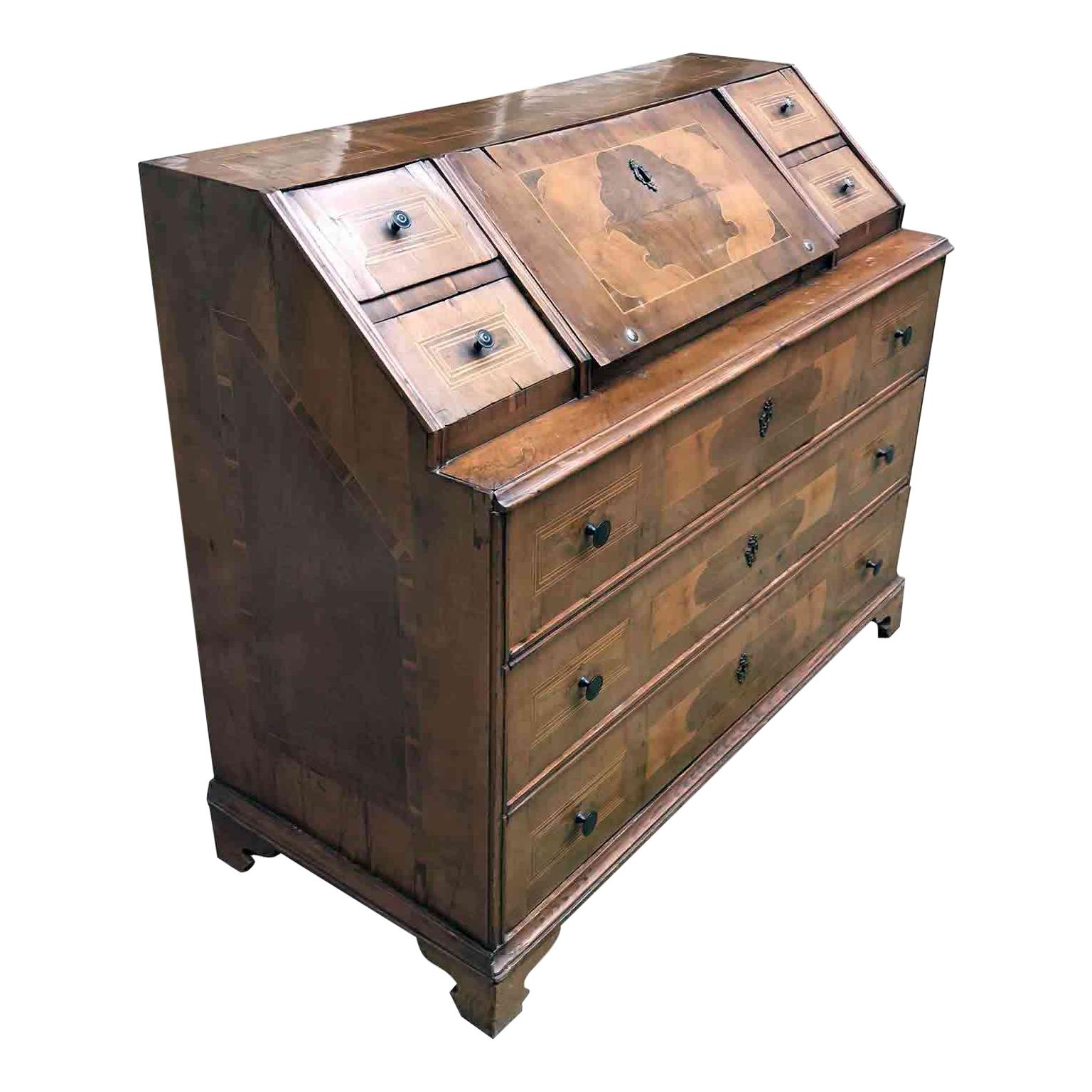18th Century Italian Bureau Large Walnut Cabinet Flap Chest of Drawers