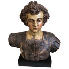 18th Century Italian Bust of Angel in Armor