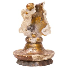 18th Century Italian Candlestick Top with Fossil Agate Coral and Baroque Pearls