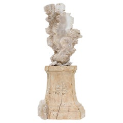 17th Century Italian Candlestick with a Selenite Blade Cluster and Fossil Shells