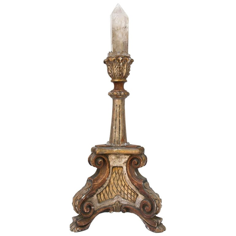 18th Century Italian Candlestick With Smokey Quartz Crystal Oblique For Sale