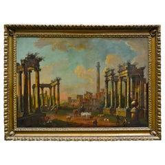 18th Century Italian Capriccio of Roman Ruins Attributed to Luigi Vanvitelli