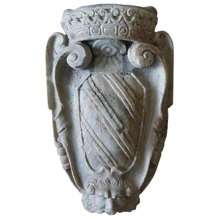 18th Century Italian Carrara Marble Wall Crest For Sale