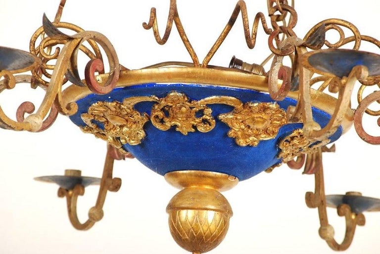 18th Century Italian Carved and Gilt Wood Chandelier In Good Condition For Sale In Essex, MA