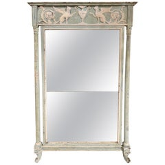 18th Century Italian Carved and Painted Neoclassical Mirror