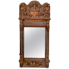 18th Century Italian Carved and Parcel Gilt Mirror