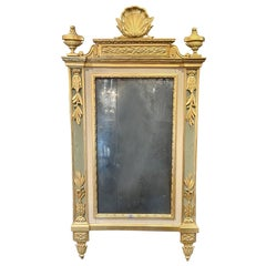 18th Century Italian Carved and Parcel Gilt Mirror with Original Glass