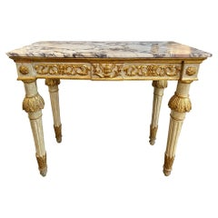 18th Century Italian Carved and Parcel Gilt Neoclassical Console